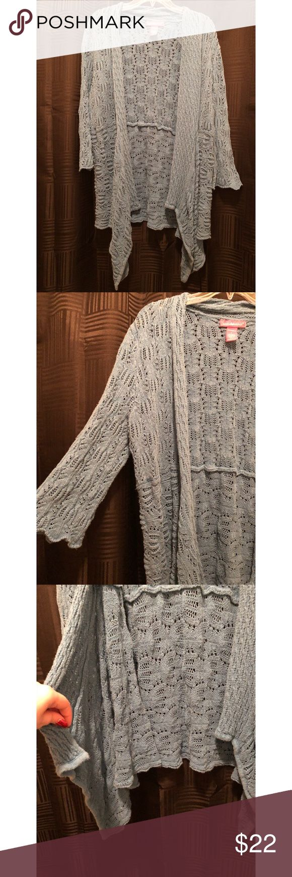 Woman Within • Blue Knit Cardigan Worn a few times- in excellent condition! Minor flaw is that the wash has faded the color a tad bit. STILL a gorgeous blue! 💙 Lovely Knit Cardigan! It has cascading sides & 3/4 length sleeves. I'm 5'2 and it comes to a little below my butt. Size L but can definitely fit a size bigger! 🤓 55 Ramie, 45 Cotton. I hurried and tried to capture the color (last photo best represents) before the light caught it! Woman Within Sweaters Cardigans