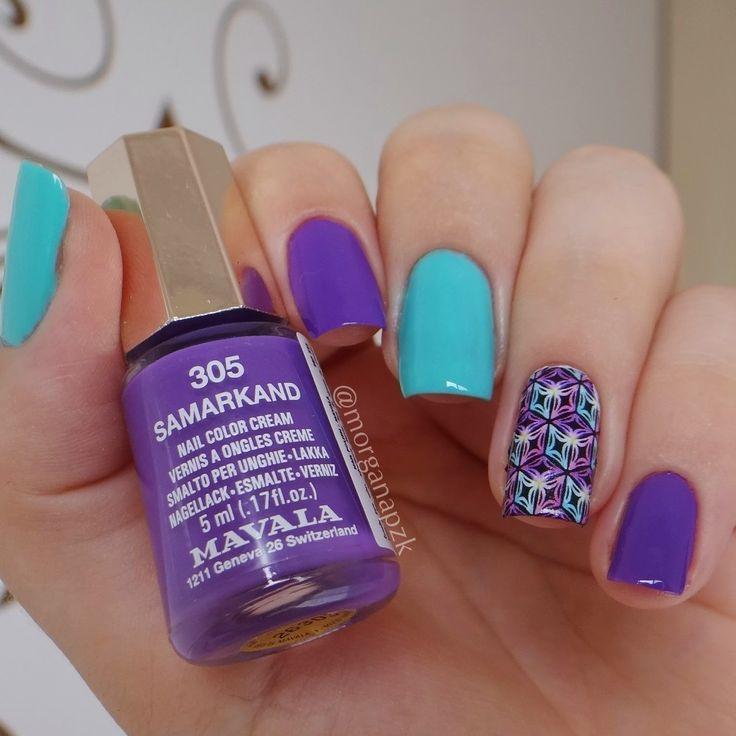 Esmalte 305 Samarkand da Mavala + Natureza Viva da Impala + Película Estilo Rosa. Turquoise and purple nails. Nail art. Nail design. Polishes. Polished. by @morganapzk