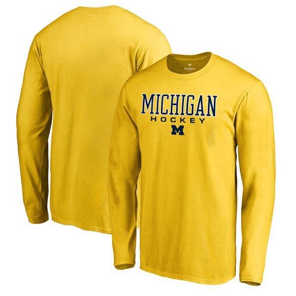 Michigan Wolverines Fanatics Branded True Sport Hockey Long Sleeve T-Shirt - Yellow - $27.99