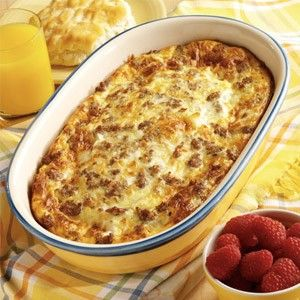 Crescent rolls on the bottom of pan, then sausage crumbles, 2 cups of mozzarella cheese, then whip 6 eggs and 1 cup of milk together pour over the top and bake on 425* for 20-25 minutes. Season with salt and pepper. Enjoy!