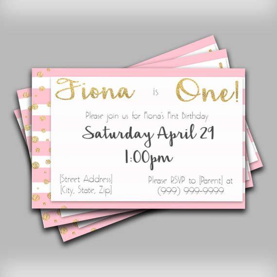 Girl Birthday Invitation - Pink and White Glitter Invitation - Striped Glitter Invitation - Girls Birthday Party - Glitter Birthday Invite