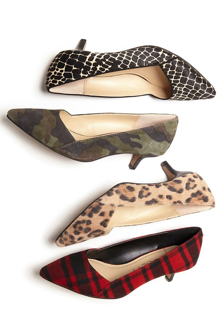 Kitten heel pumps with pointed toes