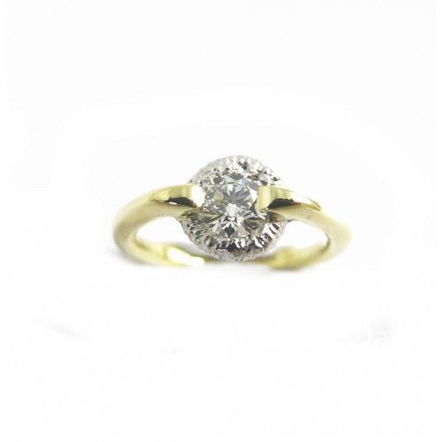 Round Disc Diamond Ring gold design. Modern engagement rind design featuring a 0.5ct diamond held by a contemporary setting.