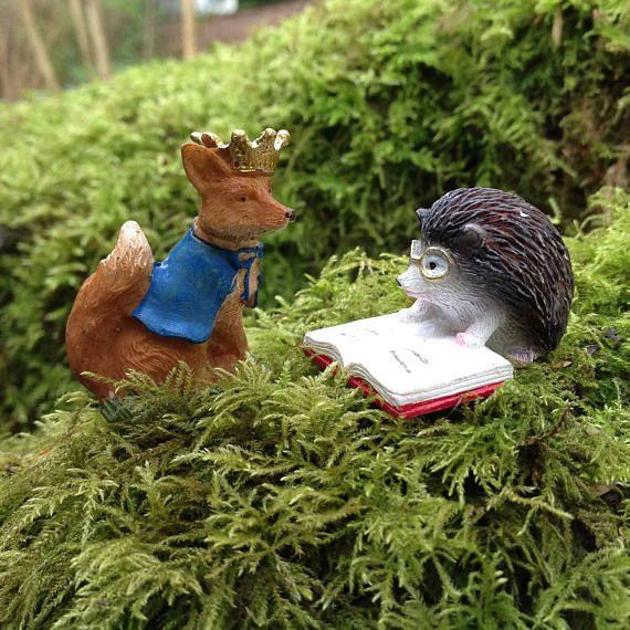 Fox Miniature Figurine Fox Prince For Dollhouse Fairy Garden