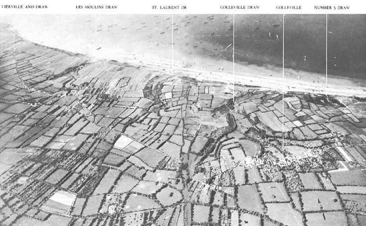 Aerial view of Omaha Beach, Normandy, France on June 6, 1944.