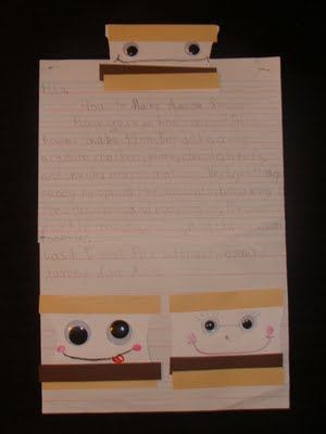 How To writing piece....How To Make a S'Mores sandwich....so totally doing this with my class.  Have to use adjectives.  Check out the website.