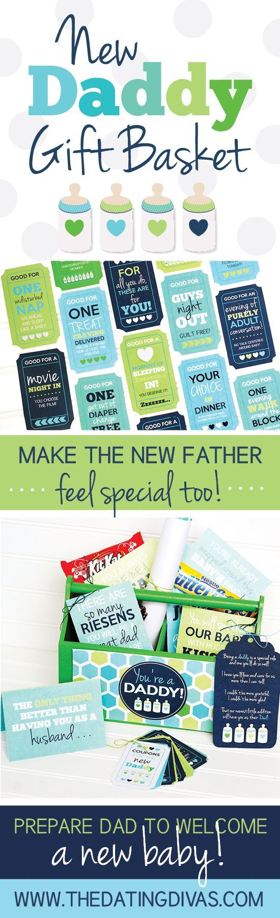 Make a new father feel special and supported with this New Daddy Gift Basket! Printables designed by www.paperelli.com www.TheDatingDivas.com