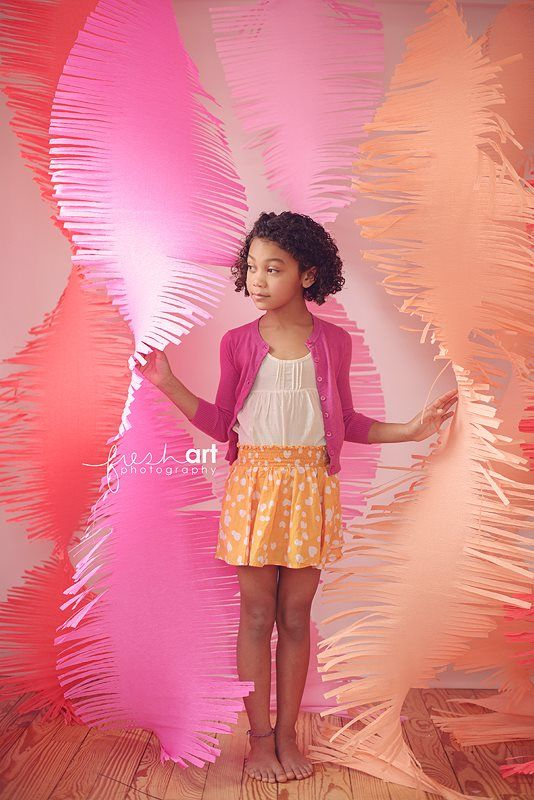 Large fringe crepe paper backdrop. Photo by Fresh Art Photography. Backdrop by Paperwhite Designs. Fringe Swirls, Photobooth Backdrop, children's photography, baby shower decoration