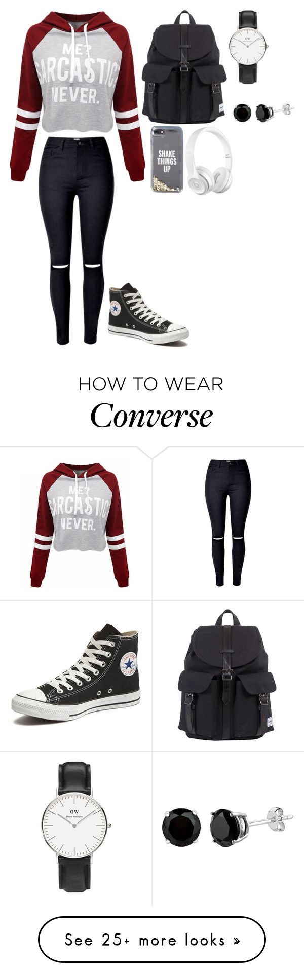 """Untitled #284"" by ellesse2132x on Polyvore featuring WithChic, Converse, Herschel, Kate Spade and Daniel Wellington"