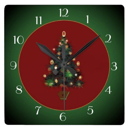 Decorative XmasTree Red /Green> Xmas Clock - red gifts color style cyo diy personalize unique