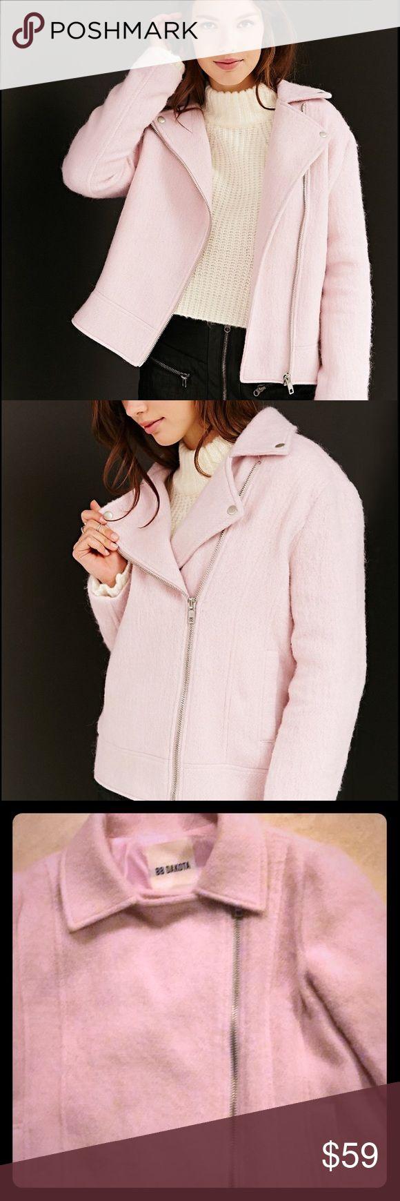 BB Dakota Pink Moto Jacket Pink Fuzzy Moto Jacket, XS. Front pockets and silver zipper. Excellent condition. BB Dakota Jackets & Coats