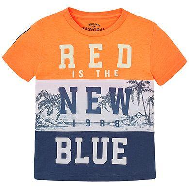 Camiseta manga corta combinada Papaya fluor