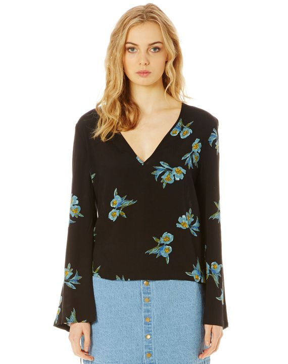 Floral Flare Sleeve Lace Up Top