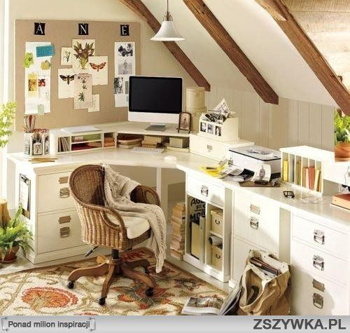 narożne biurko: Crafts Rooms, Corner Desks, Offices Spaces, Offices Ideas, Attic Offices, Home Offices Design, Homes, Homeoffice, Pottery Barns