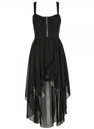 Black Chiffon High-Low Sleeveless Dress with Zipper Front,  Dress, high-low dress  chiffon, Chic