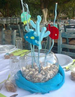 """Under the sea"" baby boy party decoration. Handmade felted elements"