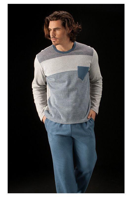 ¡PIJAMA DE FRANELA! Olvidate del frio. Pijama  hombre confeccionado en franela de algodón y poliéster, tejido grueso y muy suave al tacto. Varelaintimo.com