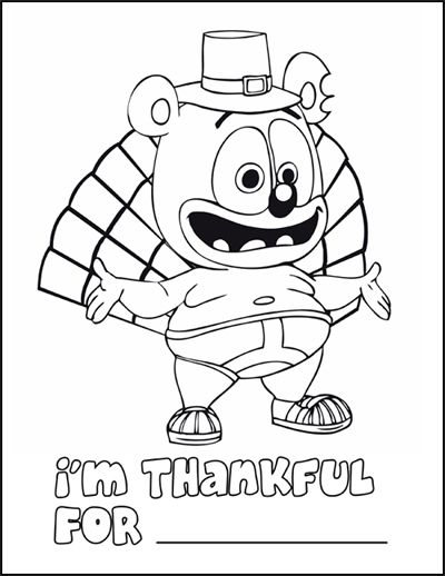 Gummib r the gummy bear thanksgiving coloring page and for Coloring pages of gummy bears