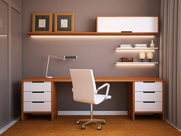 Home office design idea with sleek wooden surfaces and minimalistic overtones. Needs additional styling but like the concept