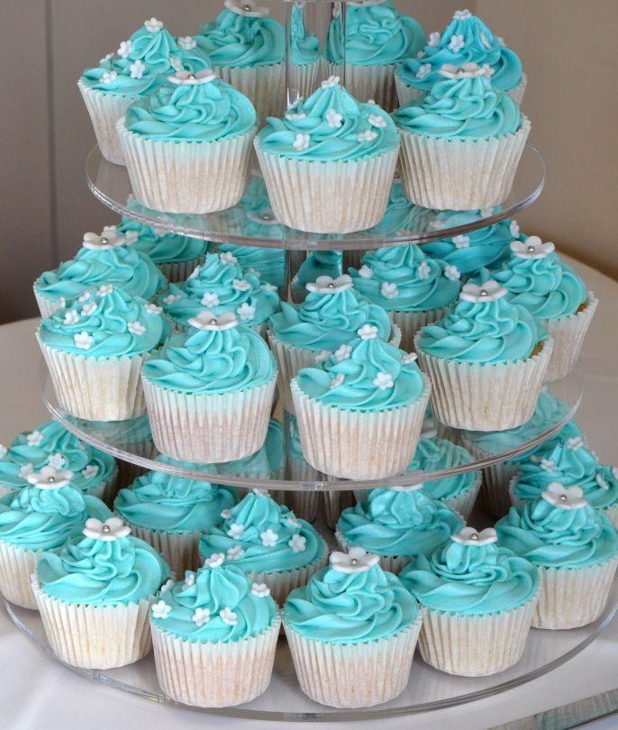 Cupcakes en azul tiffany