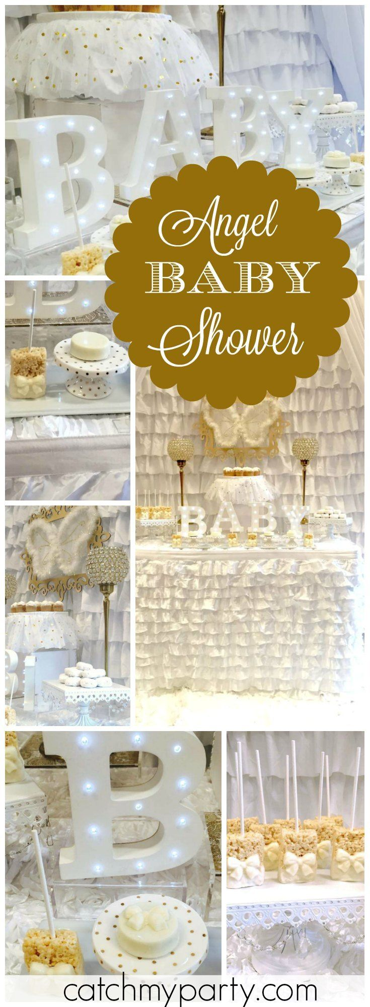 You have to see this angelic white and gold baby shower! See more party ideas at Catchmyparty.com!
