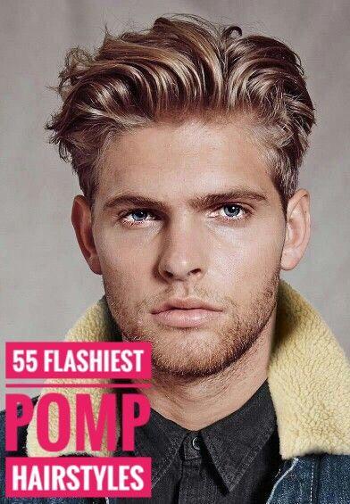 55 Flashiest Pomp Hairstyles For Men Men Blonde Hair Wavy Hair Men Curly Hair Men