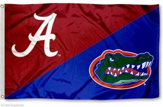 House Divided Flag - Alabama vs. Florida measures 3x5 feet, is made of polyester, has quadruple-stitched fly ends, and NCAA college team logos are screen...