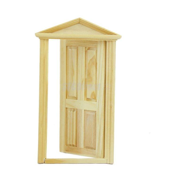 1/12 Dollhouse Miniature 4 Panel Wooden Exterior Door Steepletop Design #