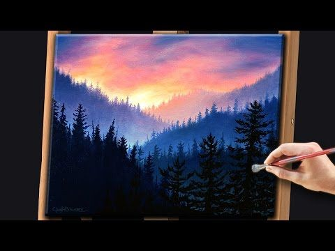 Acrylic Landscape Painting Techniques | Misty Forest with Sunrise - YouTube