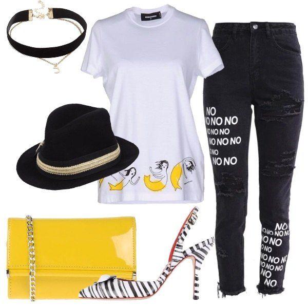 Un outfit giovane, trendy, simpatico: jeans slim fit nero, strappi, stampa, frange, abbinato a t-shirt firmata Dsquared2 bianca, stampa. Décolleté sling back nero, in pelle, bicolore, fantasia rigata, applicazioni, pochette gialla, effetto verniciato, tracolla in metallo, cappello nero, con bordino in contrasto, choker nero e metallo con ciondolo a luna.
