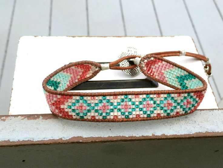 Chevron and Diamond Tribal beaded Loom Woven Bracelet