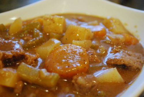 Beef Stew Crock Pot Recipe - I left out the celery and added a packet of French Onion soup mix and it was really tasty!