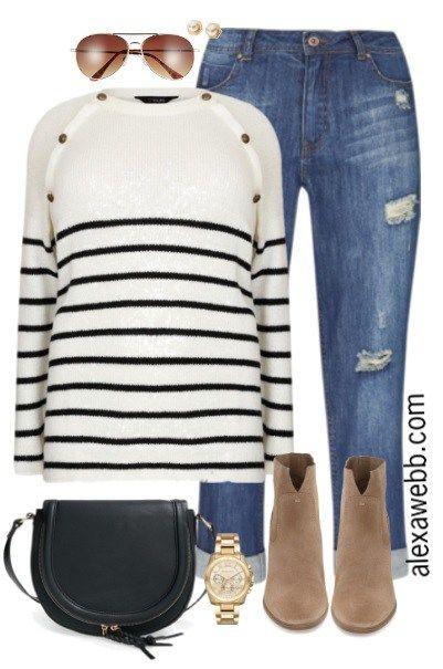 Plus Size Striped Sweater Outfit - Plus Size Fashion for Women - alexawebb.com #alexawebb