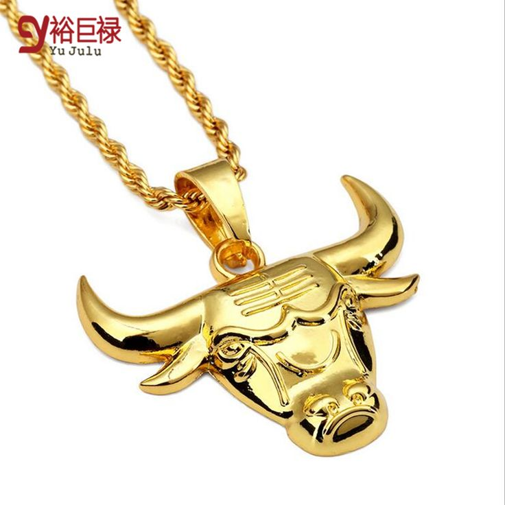 2017 New Fashion Hip Hop Yellow Gold Color Ngau Tau Alloy Pendant Bulls Pendant Necklace For Men Long Metal Chain Necklaces