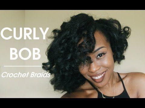Styling Crochet Braids | Curly Voluminous Bob - YouTube