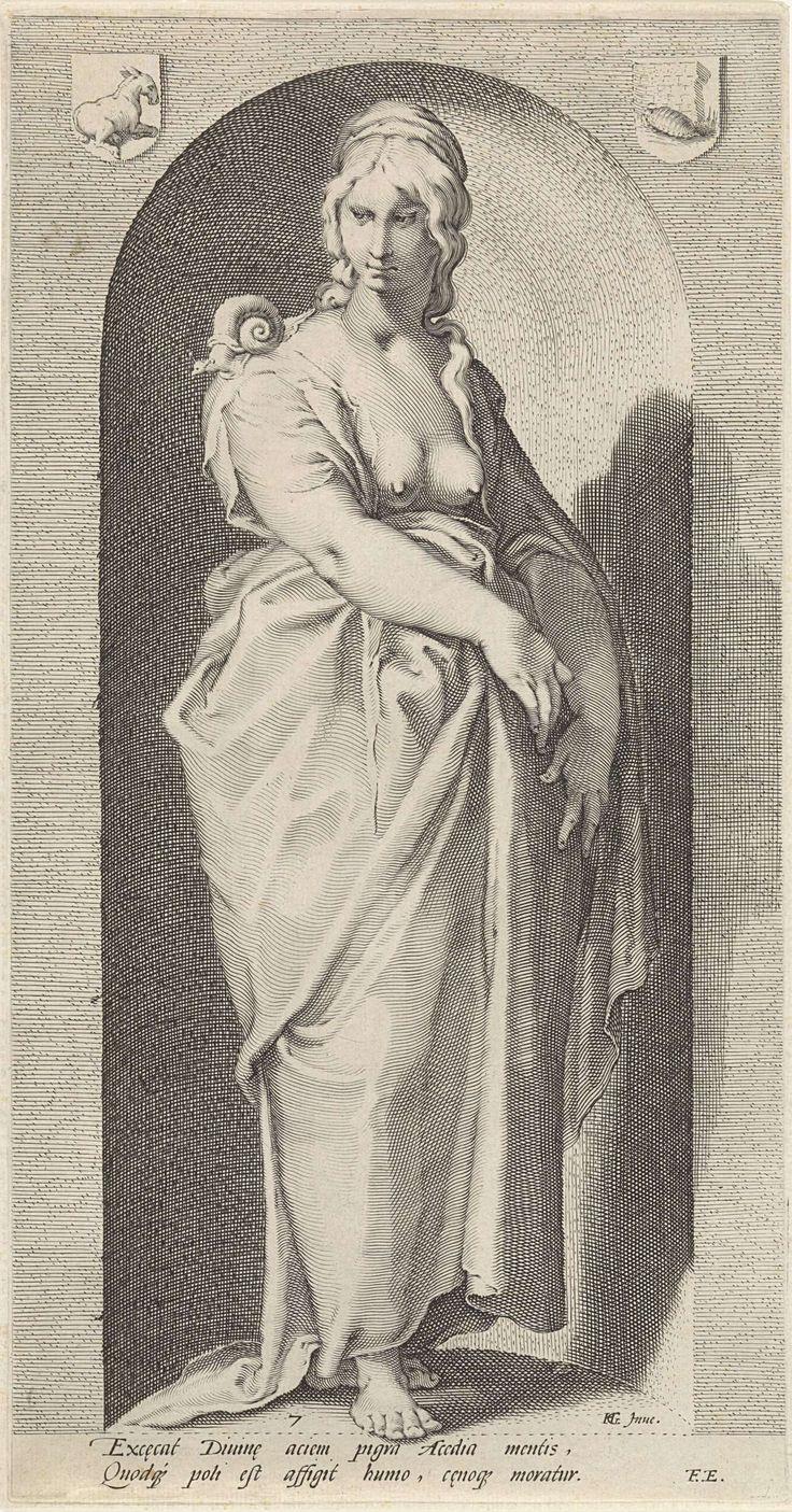 Jacob Matham | Luiheid (Acedia), Jacob Matham, Franco Estius, 1593 | Personificatie van de luiheid, verbeeld als een vrouwenfiguur met een slak op haar schouder, staand in een nis.