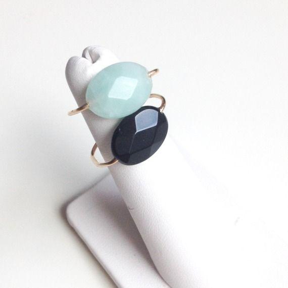 Bague minimaliste jonc pierre naturelle