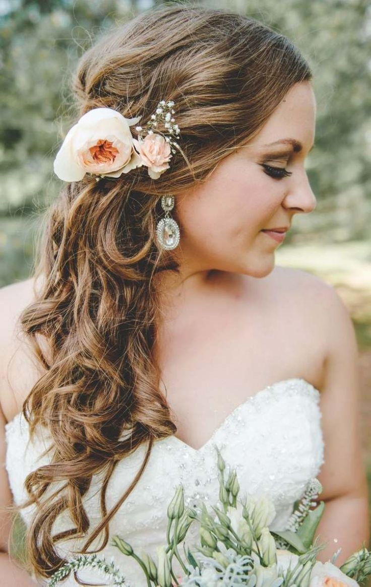 half-open hair stuck laterally with peony
