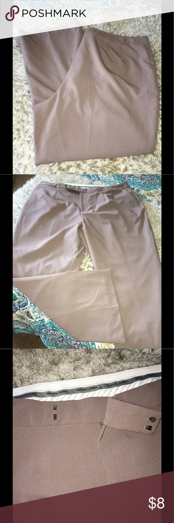 Jessica London Taupe Dress Pants Size 22 Dress pants by Jessica London.  Taupe color with a blush undertone.  Side slant pockets.  Size 22. Inseam is 30.5 inches long.   Great condition.  Important:   All items are freshly laundered as applicable prior to shipping (new items and shoes excluded).  Not all my items are from pet/smoke free homes.  Price is reduced to reflect this!   Thank you for looking! jessica london Pants Trousers