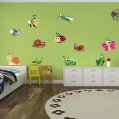 Kit Cameretta Bugs Insetti Wall Sticker Adesivo da Muro Componibile