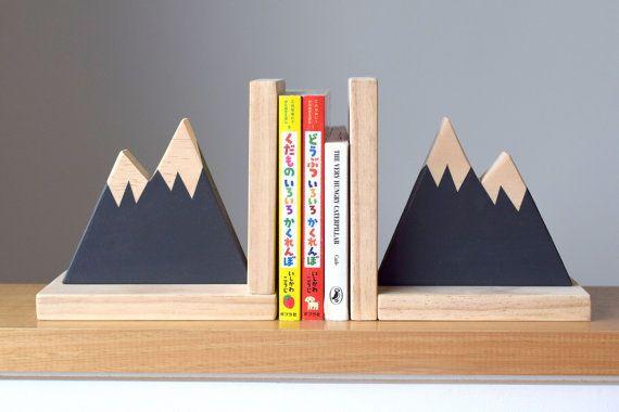 Mountain Peak Bookends  Woodland Nursery Decor by hachiandtegs