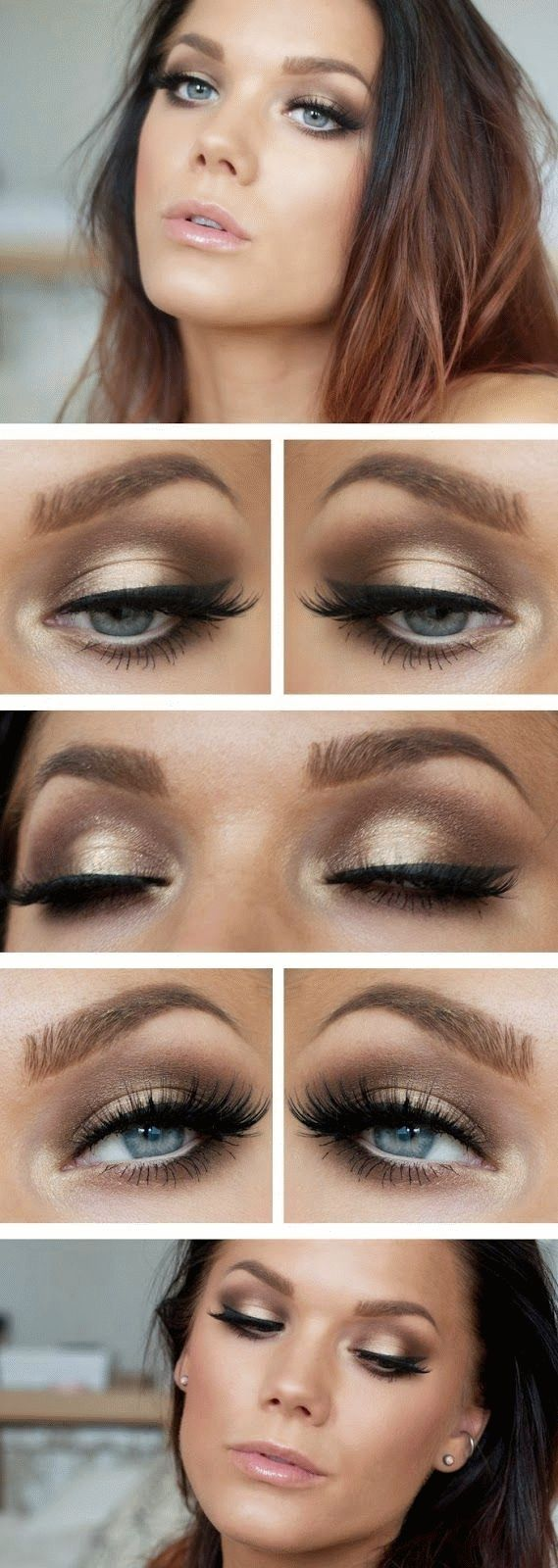 Smokey Browns And Golds With A Black Flick // Clear Glossy Lips And Pale Peach Blush // Going Out Makeup // Linda Hallberg