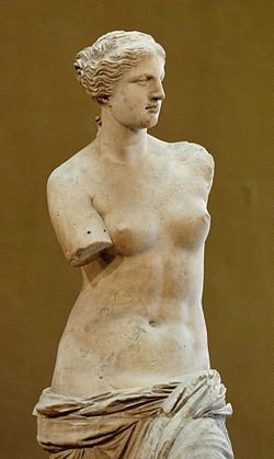 Art history -   Venus de Milo on display at the Louvre