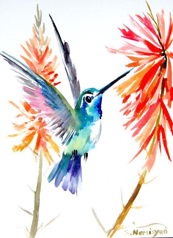 Hummingbird original watercolor painting 12 X 9 in by ORIGINALONLY, $25.00