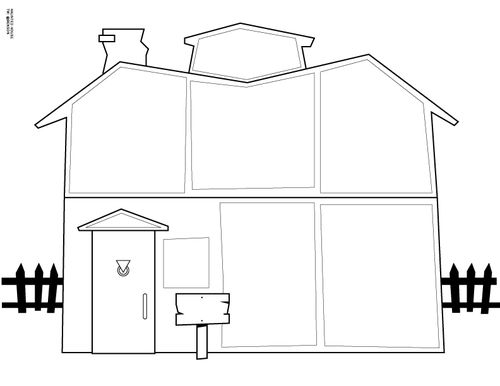 Halloween Haunted House Printable Drawing Craft For Kids