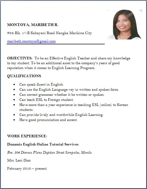Resume Sample For Job Apply | Template