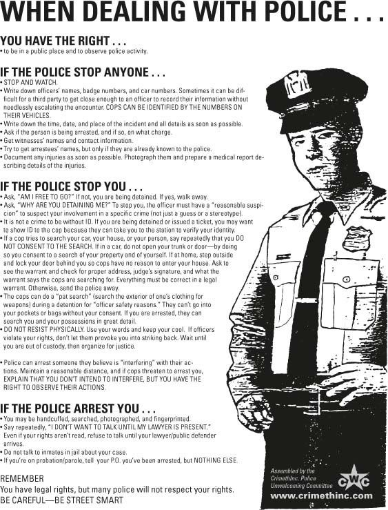 Useful guide especially if you're in a Police State.