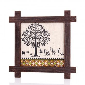 Wooden Wall Hanging - Jute Art Warli, W1882,