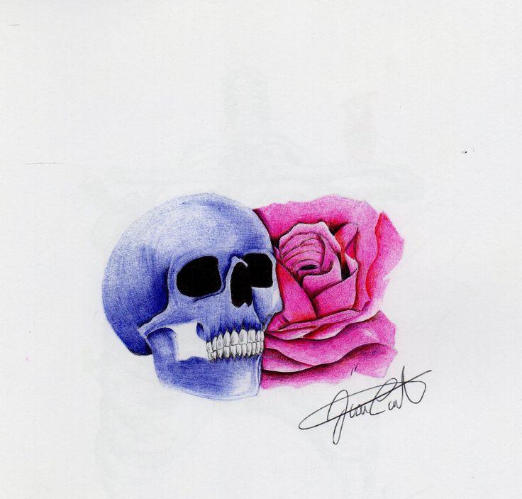 Cráneo con rosa. Técnica de esfero.