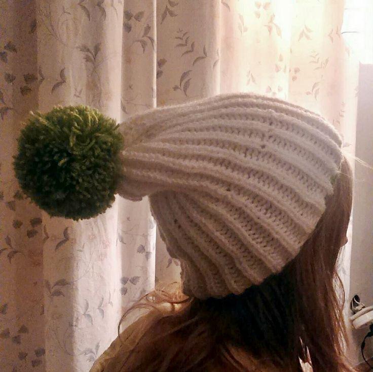 I made a cap for my friend.  #knitting #cap #wool #yarn #handmade #pompon